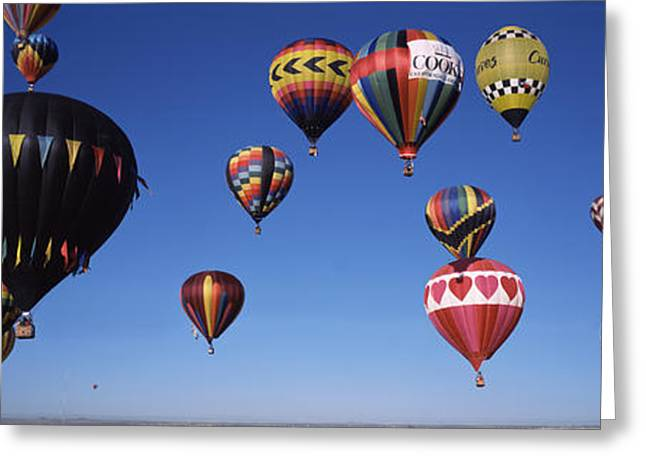 Hovering Greeting Cards - Hot Air Balloons Floating In Sky Greeting Card by Panoramic Images