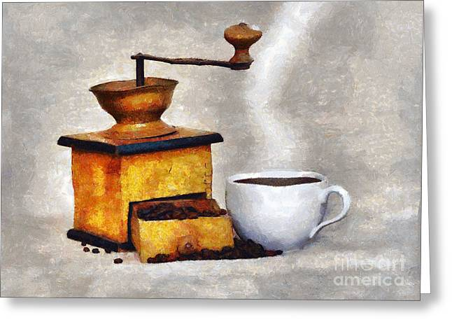 Old Grinders Digital Art Greeting Cards - Hot Black Coffee Greeting Card by Michal Boubin