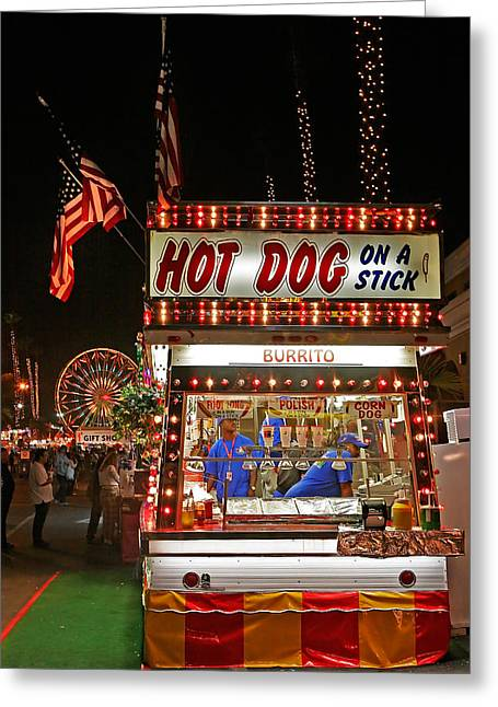 Hot Dog Greeting Cards - Hot Dog on a Stick Greeting Card by Peter Tellone