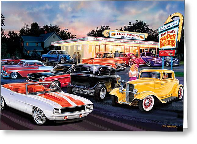 Kaiser Greeting Cards - Hot Rod Drive In Greeting Card by Bruce Kaiser