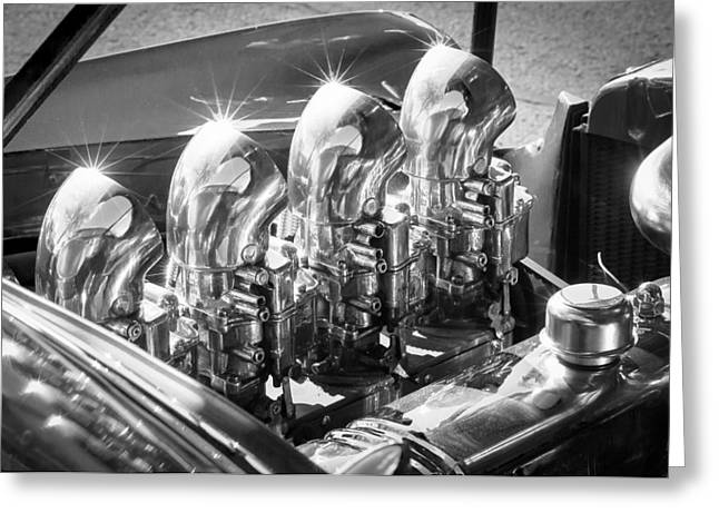 Hot Rod Photography Greeting Cards - Hot Rod Engine Greeting Card by Jill Reger