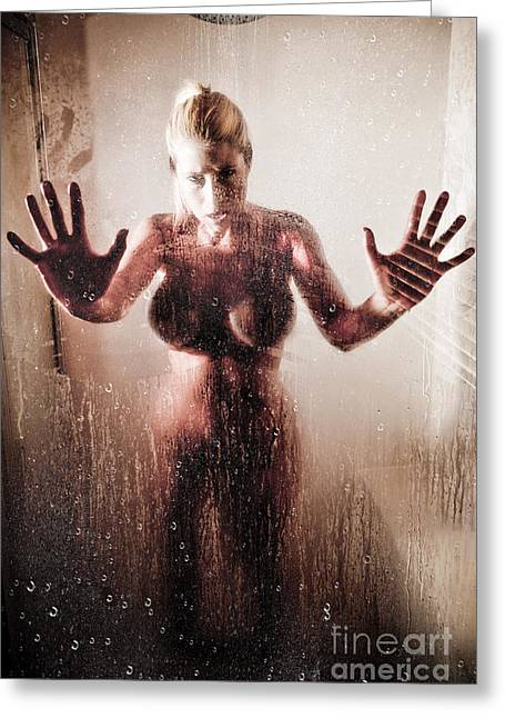 Steam Bath Greeting Cards - Hot Shower Greeting Card by Jt PhotoDesign