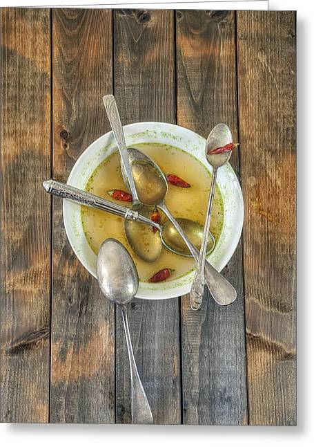 Wooden Spoon Greeting Cards - Hot Soup Greeting Card by Joana Kruse