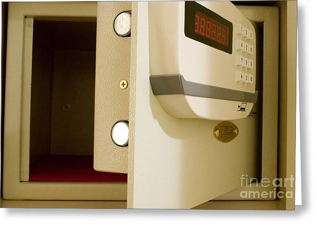 Valuable Photographs Greeting Cards - Hotel In-room Safe With Open Door Greeting Card by Mark Williamson