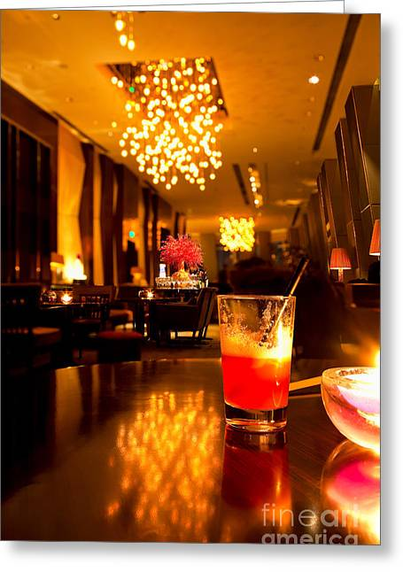 Night Cafe Greeting Cards - Hotel lounge Greeting Card by Fototrav Print