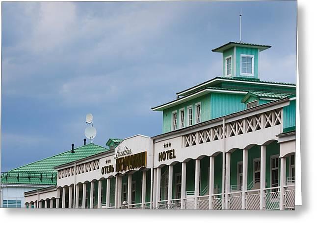World Locations Greeting Cards - Hotel Volzhskaya Zhemchuzhina, Volga Greeting Card by Panoramic Images
