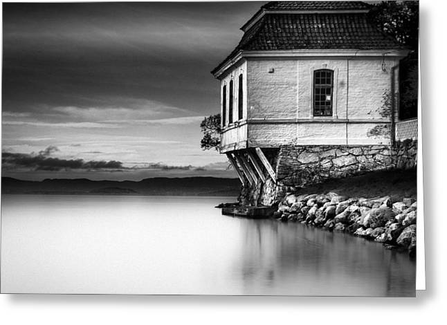 Beach House Decor Posters Greeting Cards - House By The Sea - BW Greeting Card by Erik Brede