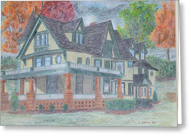 Fall Scenes Drawings Greeting Cards - House Portrait #1 Greeting Card by Dave Smith