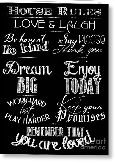 Typography Greeting Cards - House Rules Greeting Card by Marion De Lauzun