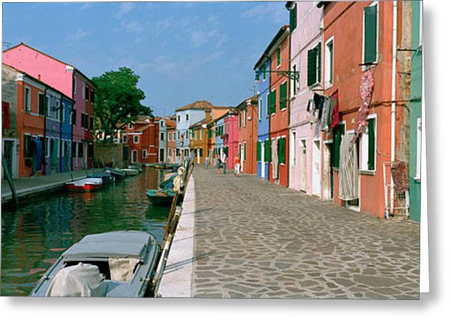 Entrance Door Greeting Cards - Houses Along A Canal, Burano, Venice Greeting Card by Panoramic Images
