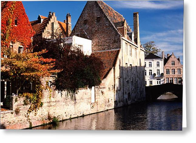 Creepers Greeting Cards - Houses Along A Channel, Bruges, West Greeting Card by Panoramic Images