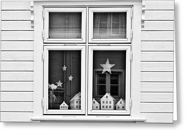 Whitewashed Greeting Cards - Houses and Windows Greeting Card by Dave Bowman