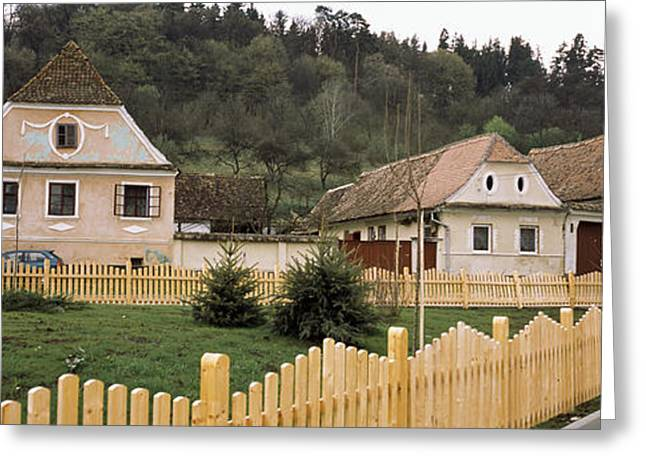 Romania Photographs Greeting Cards - Houses In A Village, Biertan Greeting Card by Panoramic Images