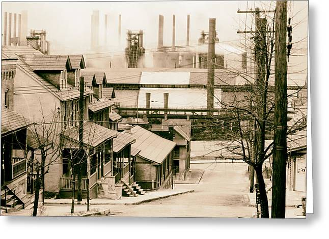 Steer Greeting Cards - Houses Near Bethlehem Steel Company 1940s Greeting Card by Mountain Dreams