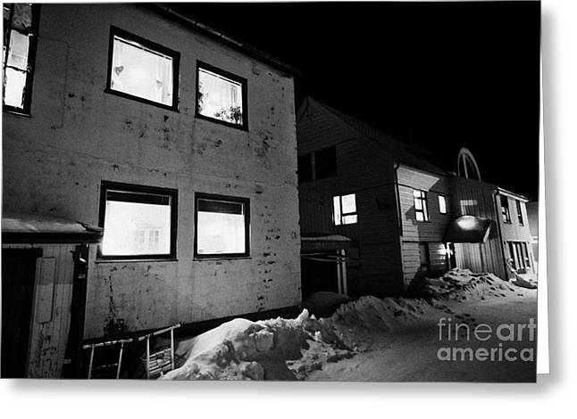 Winter Night Greeting Cards - Houses With Lamps In The Windows And Snow Covered Street At Night Vardo Finnmark Norway Europe Greeting Card by Joe Fox