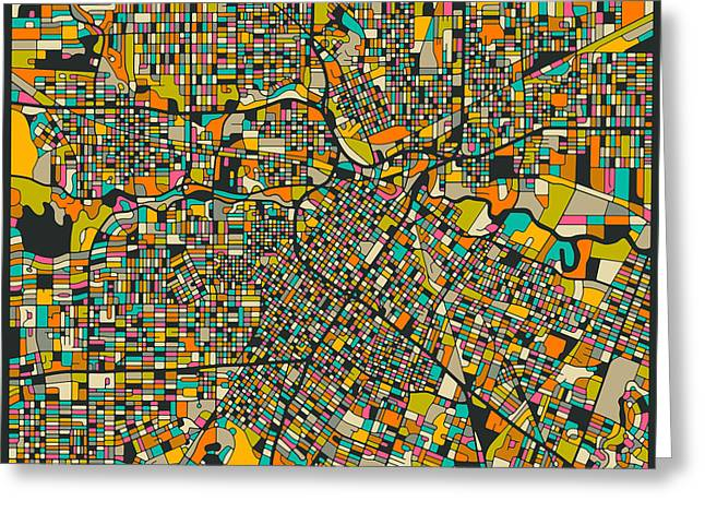 Houston Greeting Cards - Houston Map Greeting Card by Jazzberry Blue