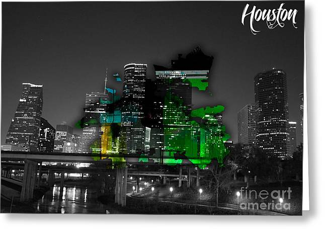 Cities Greeting Cards - Houston Texas Map and Skyline Watercolor Greeting Card by Marvin Blaine