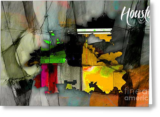 Houston Texas Map Watercolor Greeting Card by Marvin Blaine