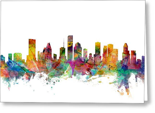 Cityscape Greeting Cards - Houston Texas Skyline Greeting Card by Michael Tompsett