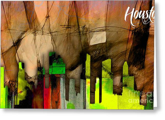 Map Greeting Cards - Houston Texas Skyline Watercolor Greeting Card by Marvin Blaine