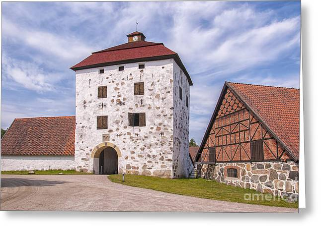 Red Roofed Barn Greeting Cards - Hovdala Slott Gatehouse Greeting Card by Antony McAulay