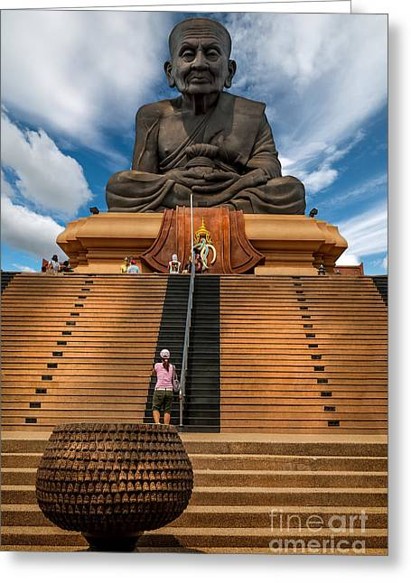 Historic Statue Digital Art Greeting Cards - Huay Mongkol Temple Greeting Card by Adrian Evans