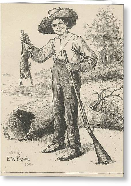 Huckleberry Drawings Greeting Cards - Huckleberry Finn Illustration Greeting Card by