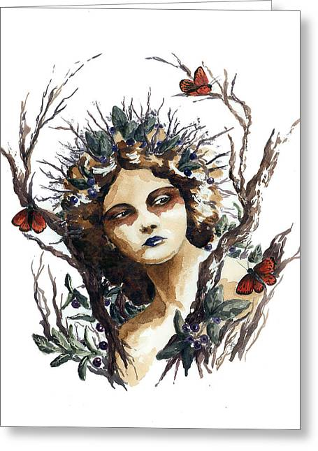 Huckleberry Paintings Greeting Cards - Huckleberry Nymph Greeting Card by Lavandulae L