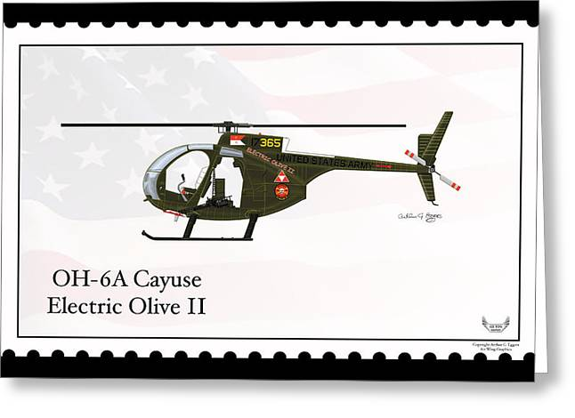 Enforcer Greeting Cards - Hughes OH-6A Cayuse Electric Olive II Greeting Card by Arthur Eggers