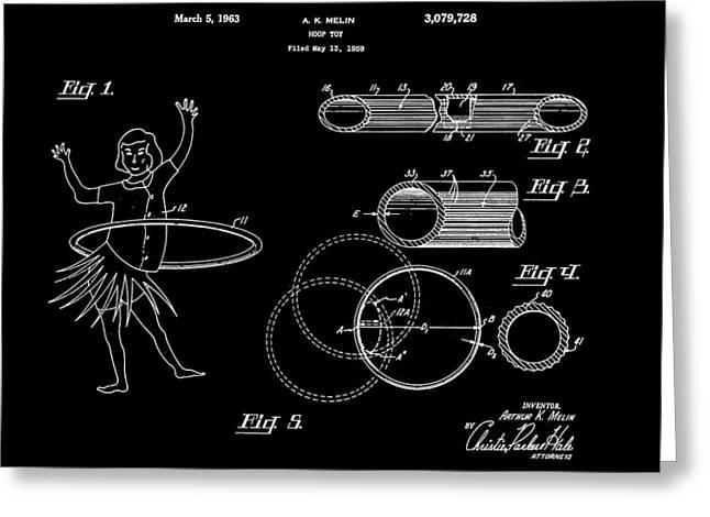 Hula Hoop Greeting Cards - Hula Hoop Patent 1959 - Black Greeting Card by Stephen Younts