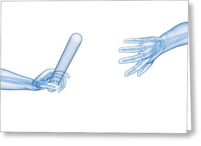 Human Hand Passing Relay Baton Greeting Card by Sebastian Kaulitzki