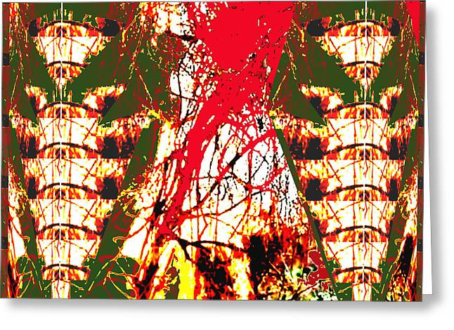 Temperature Greeting Cards - Human like Totem Pole Angel and Fire in the jungle abstract using nature photography unique signatur Greeting Card by Navin Joshi