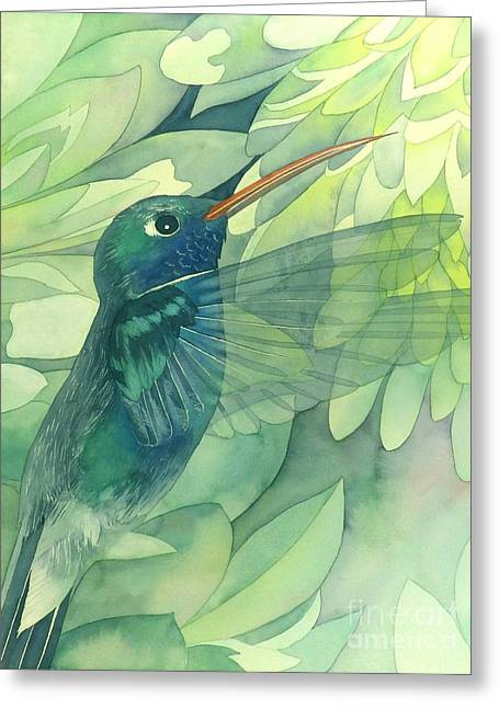 Spiritual Paintings Greeting Cards - Hummingbird And Chrysanthemum Greeting Card by Robert Hooper