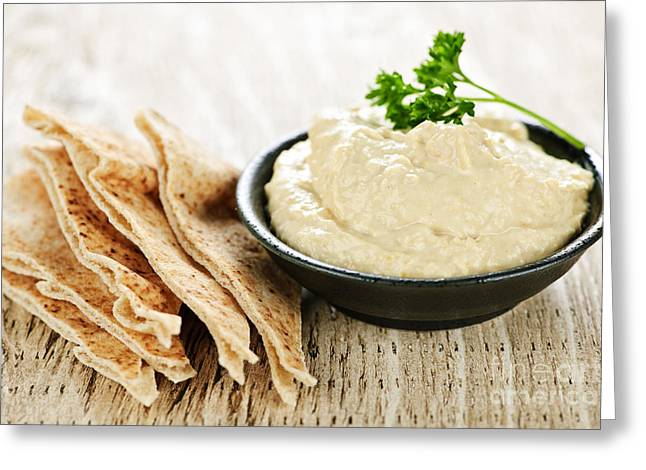 Spreads Greeting Cards - Hummus with pita bread Greeting Card by Elena Elisseeva
