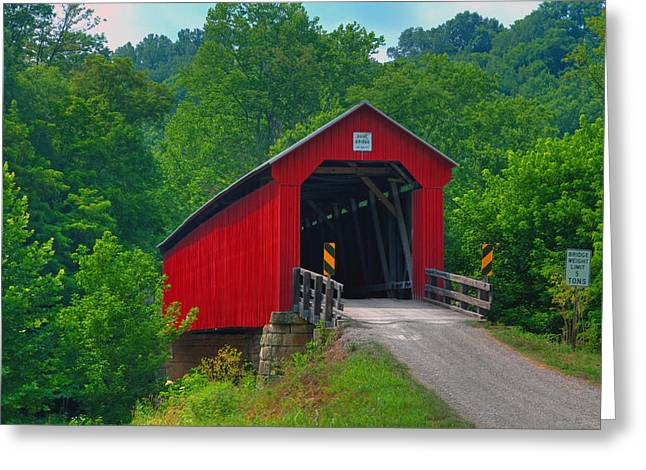 Jack R Perry Greeting Cards - Hune Covered bridge Greeting Card by Jack R Perry