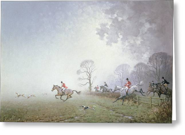 Blood Hound Greeting Cards - Hunting Scene Greeting Card by Ninetta Butterworth