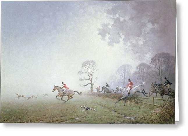Hunting Scene Greeting Card by Ninetta Butterworth