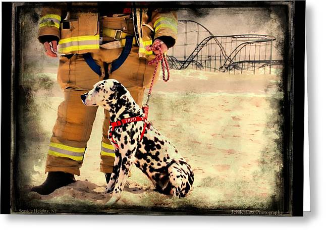 Jetstar Photographs Greeting Cards - Hurricane Sandy Fireman and Dog Greeting Card by Jessica Cirz