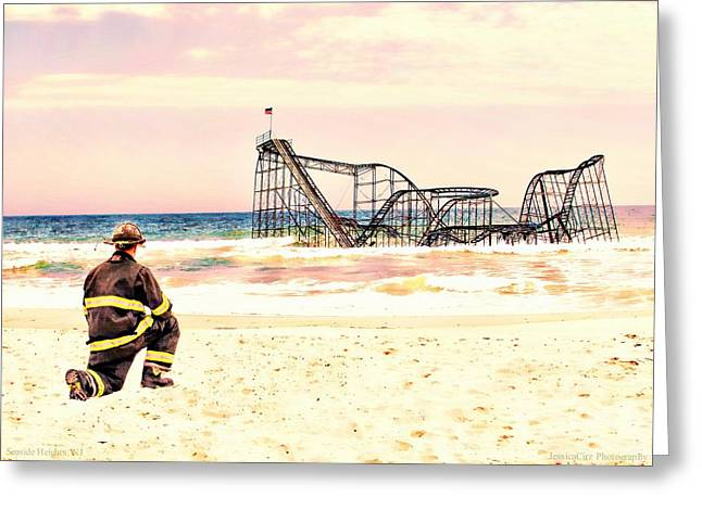 Jetstar Digital Art Greeting Cards - Hurricane Sandy Fireman Greeting Card by Jessica Cirz