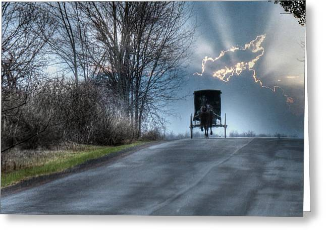 Horse Buggy Greeting Cards - Hurry Home Greeting Card by Lori Deiter