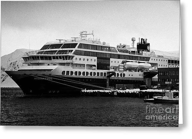Honningsvag Greeting Cards - hurtigruten ms midnatsol berthed in Honningsvag harbour Greeting Card by Joe Fox