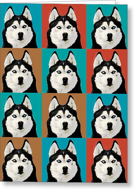 Husky Greeting Cards - Husky Pop Art Greeting Card by Susan Stone