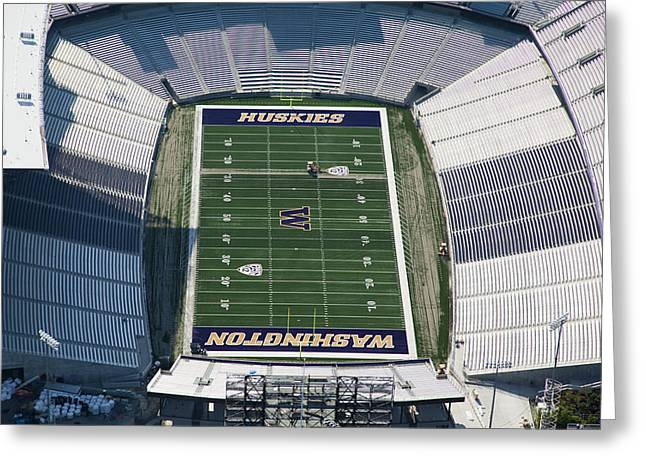 Self-knowledge Greeting Cards - Husky Stadium At The University Greeting Card by Andrew Buchanan/SLP