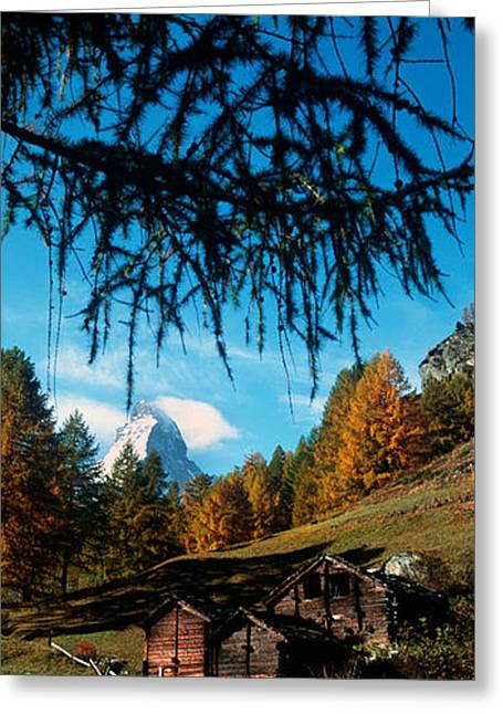 Swiss Photographs Greeting Cards - Huts With The Mt Matterhorn Greeting Card by Panoramic Images