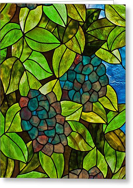 Art Nouveau Glass Art Greeting Cards - Hydrangea Greeting Card by David Kennedy