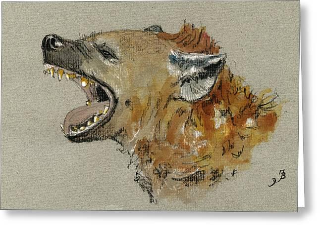 Hyena Head Greeting Card by Juan  Bosco