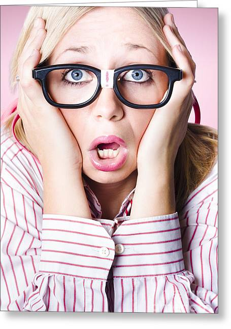 Hysterical Business Woman Having Panic Attack Greeting Card by Jorgo Photography - Wall Art Gallery