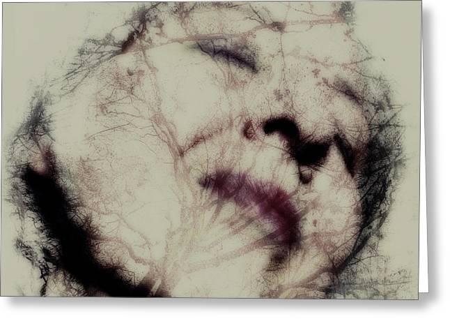 Self-portrait Pyrography Greeting Cards - I Greeting Card by Danica Radman