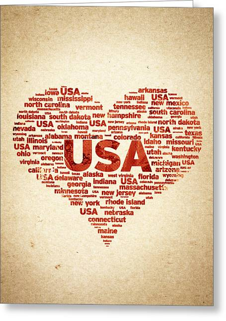 I Greeting Cards - I Love USA Greeting Card by Aged Pixel