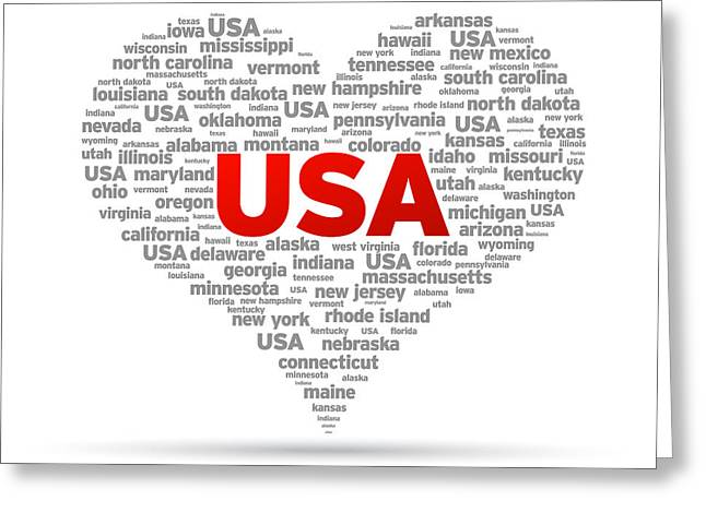 Los Angeles Drawings Greeting Cards - I Love USA Greeting Card by Aged Pixel
